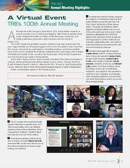TR News 332 March-April 2021: A Virtual Event: TRB's 100th Annual Meeting