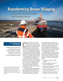 TR News 334 July-August 2021: Transforming Ocean Shipping: Alternative Energy Sources and Practical Issues