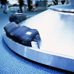 Luggage in baggage claim area